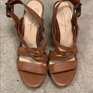Jessica Simpson camel wedge sandals size 10